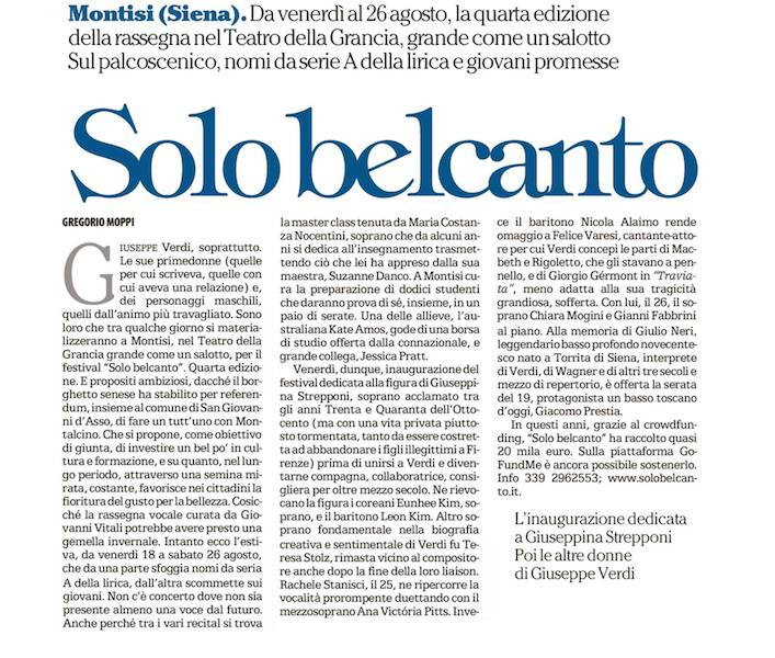 Festival Solo Belcanto in the News